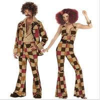 Free Shipping Men women 60s 70s Retro Hippie Costume 1960s 1970s Go Go Girl Disco Costumes Men's Disco Costume M XL