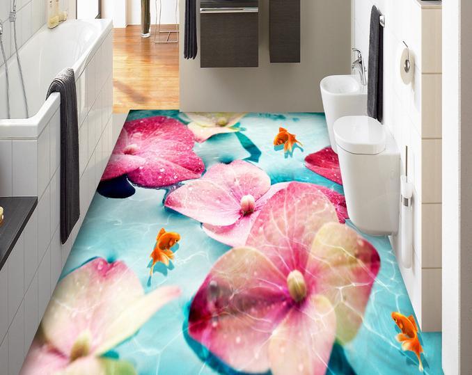 ФОТО 3d flooring Customized Pink flowers Goldfish  3d wallpaper living room 3d floor tiles wallpaper 3d stereoscopic wallpaper