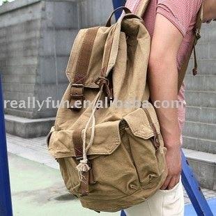 High Fashion Good quality thick canvas genuine leather washed canvas bag/shoulder bag/backpack bag