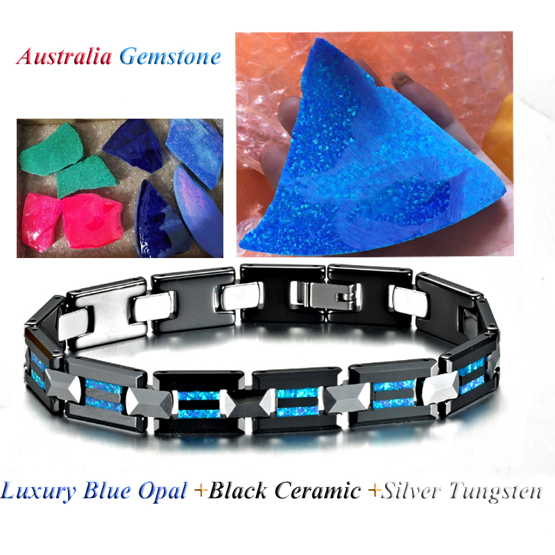 Black ceramic tungsten Blue Opal bracelet for men costume jewelry mens jewellery womens bracelet bijoux homme pulseras hombre
