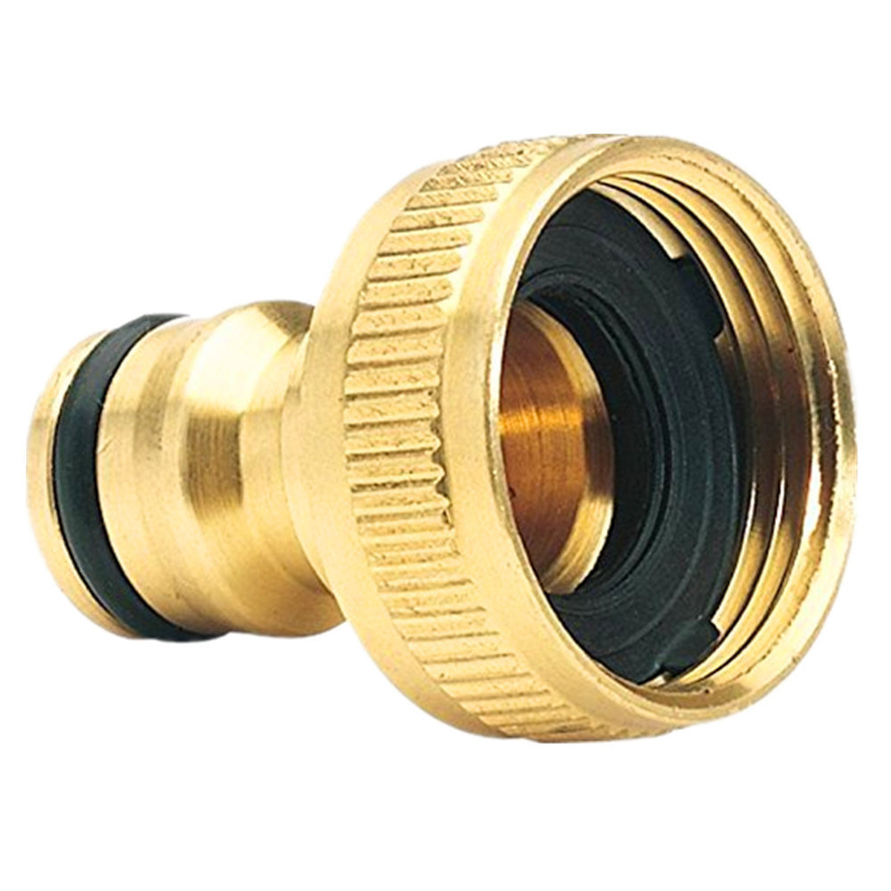 Tap-Connector Adaptor-Accessories Garden-Hose Quick-Hose Brass 3/4-Inch -0424
