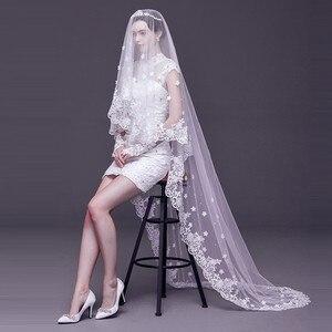 Image 3 - 2019 אופנה חתונה צעיף תחרה 3 M לבן/שנהב 1 שכבה טול צעיפי כלה לחתונה מסיבת חתונה אישה אבזרים