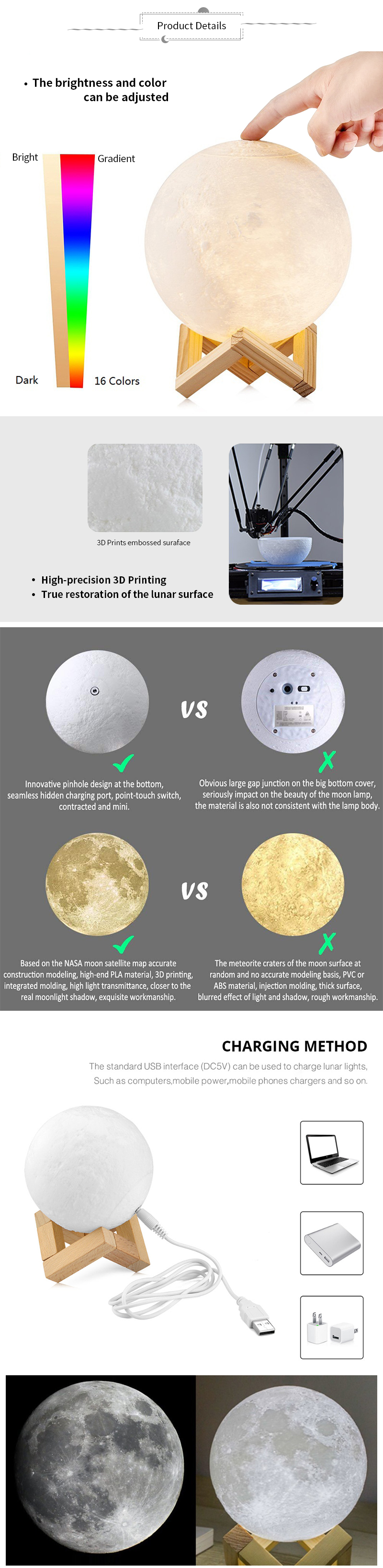 3D Print Moon Lamp Rechargeable Night Light RGB Color Change Touch Switch Bedroom 3D lunar Moon Lamp Home Decor Creative Gift 5