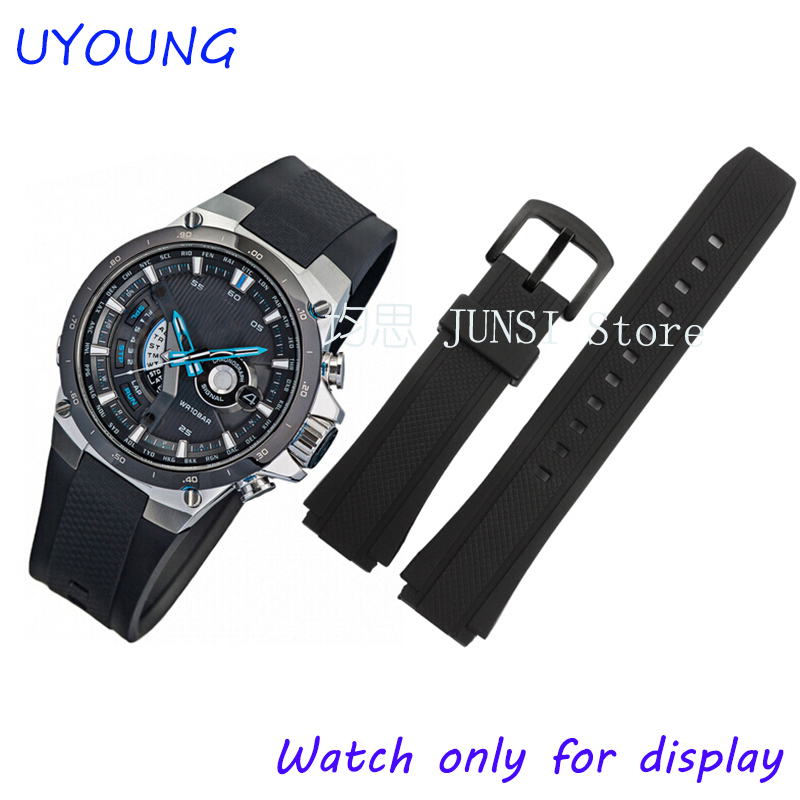 Quality Black Silicone Rubber Strap For Casio CASIO EF-552 Watch Bands For Men Watch Bracelet 17mm