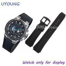 Qualité Bracelet En Caoutchouc Noir Silicone Pour Casio CASIO EQW-M1100C/EQW-A1000B bracelets Montres Pour hommes Bracelet