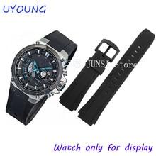 235b20c6331 Qualidade Preto Pulseira de Borracha de Silicone Para faixas de Relógio  Para homens Pulseira de relógio Casio CASIO EF-552 17mm