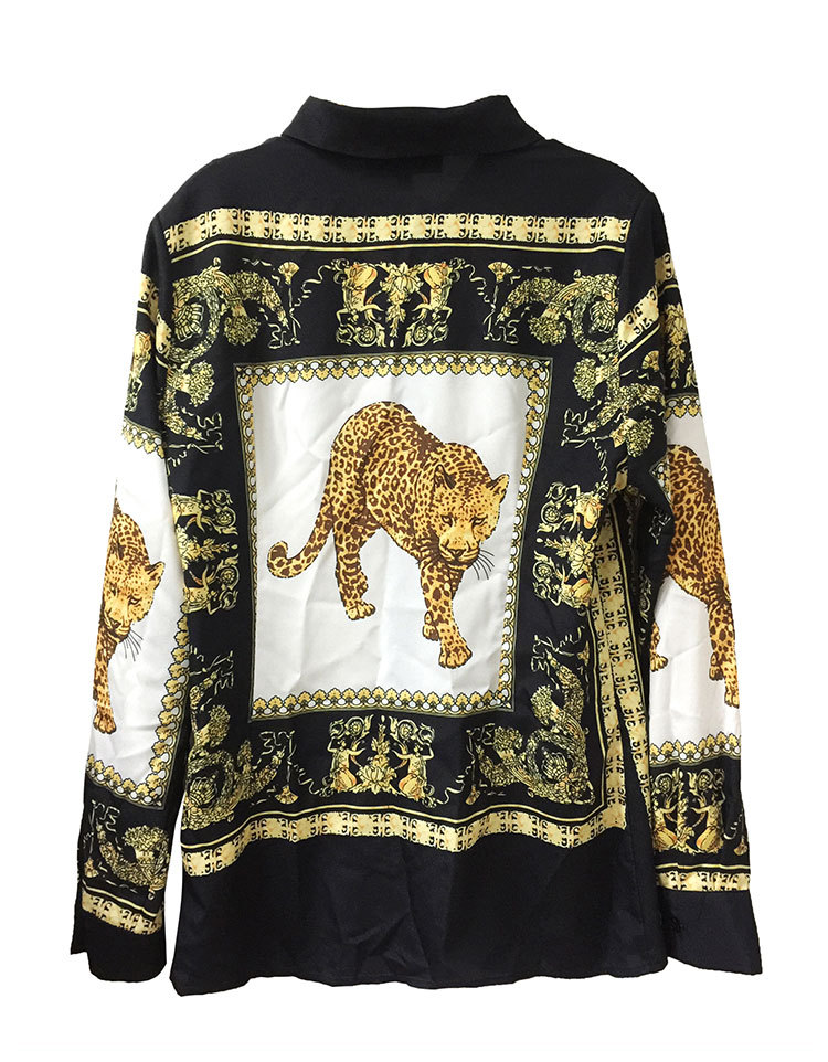 New arrival 2018 spring summer fashion women chiffon sexy leopard print long sleeve blouse black gold color tops button up