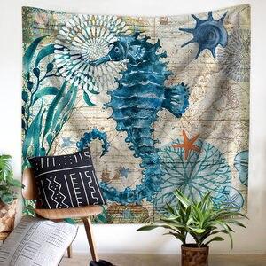 Image 4 - Mediterranean Sea Animal Mermaid Tapestry Macrame Wall Hanging Beach Towel Sitting Blanket Farmhouse Boho Home Decor Headboard