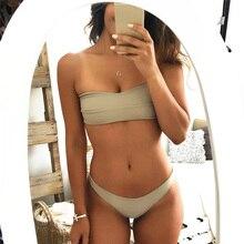 Tie Back Bandeau Solid Color Bikini Padded Off Shoulder Bandage Low Waist Cut Women Swimuit Simple Bathing Suit Push Up Swimwear цена 2017
