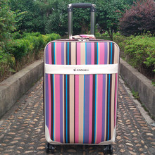 Women Rainbow stripes Travel Luggage bag Spinner Men Rolling luggage On Wheels students 20 24 Inch Suitcase Trolley Travel bag(China)