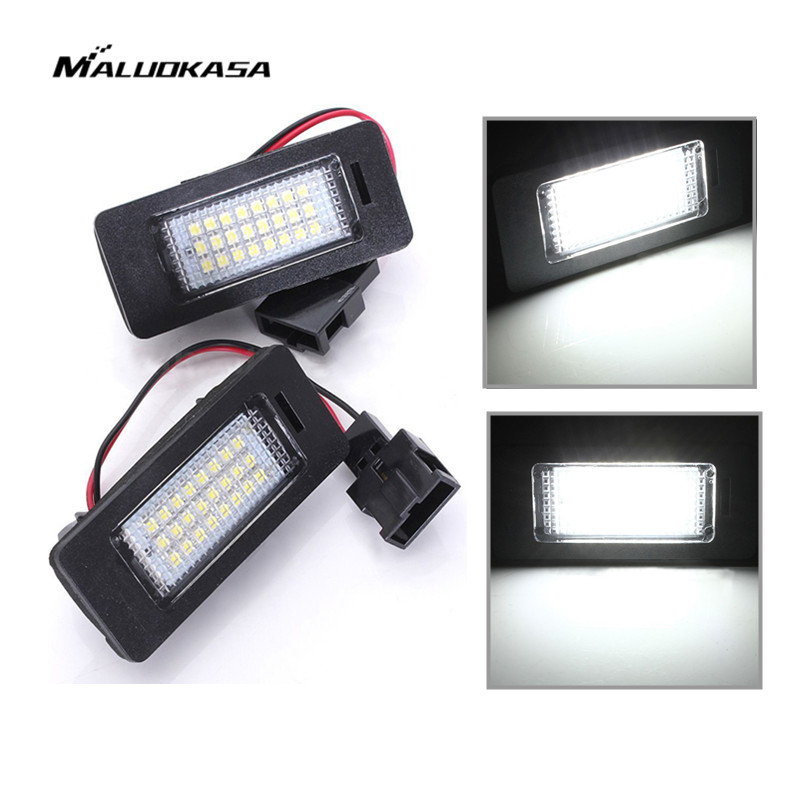 MALUOKASA 2x Error Free Car LED License Plate Light Number-plate Signal Lamp for Audi A4 B8 A5 S5 Q5 for VW Passat 5D R36 2008 cawanerl car canbus led package kit 2835 smd white interior dome map cargo license plate light for audi tt tts 8j 2007 2012