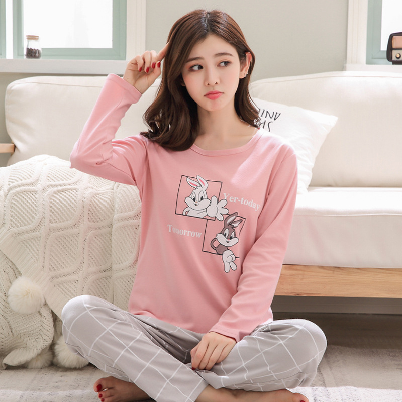 Women Clothes for Autumn winter Pajamas Sets O-Neck Sleepwear Lovely Rabbit Pijamas Mujer Long Sleeve Cotton Sexy Pyjamas Female 93