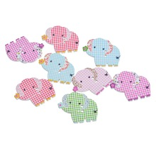 30PCs Multicolor tartan design Elephant Shape 2 Holes Wood Buttons Fit Scrapbooking Sewing DIY 3.1×2.55cm