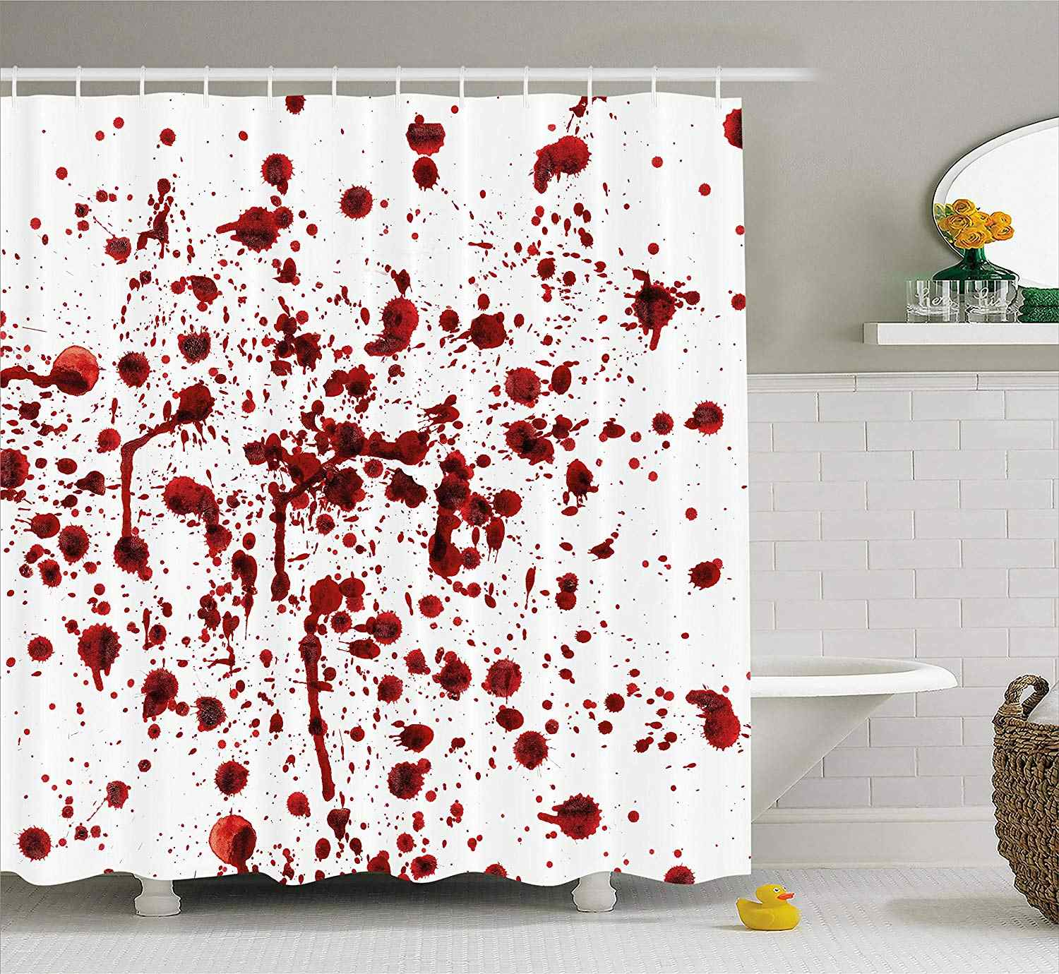 Bloody Shower Curtain Splashes of Blood Bloodstain Horror Scary Zombie Halloween Themed Print Fabric Bathroom Decor with Hooks