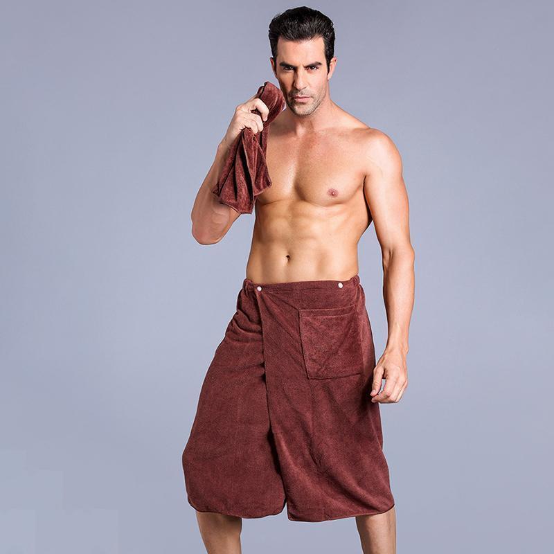 2PCS/Set Man Wearable Magic Microfiber Bath Towel Face Towel Soft Absorbent Basic Towels Blanket With Pocket Toalla De Bano