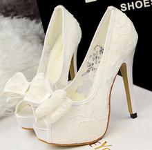 2017 New fashion Shallow Mouth Wedding Party Shoes Summer Style Women High Heels Open work Mesh Sexy Lace Bow Fish Head Pumps