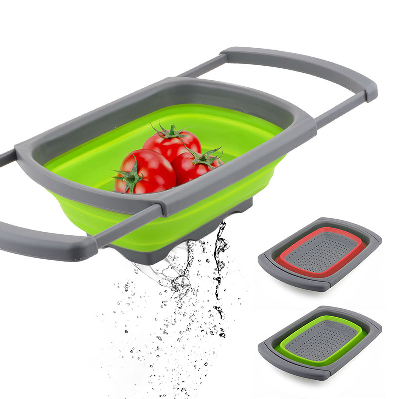 Collapsible Colander FFolding Strainer Filter with Retractable Handle Silicone Fruit Vegetable Draining Basket Water Drainage