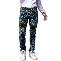 2017 Men S Fashion Butterfly Print Jeans Casual Slim Fit Fancy Painted Denim Pants Long Trousers