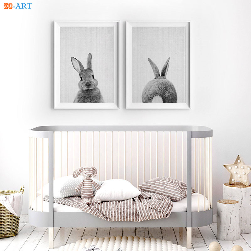 Rabbit Tail Prints Bunny Butt Poster Woodland Animal Wall Art Black and White Canvas Painting Kids Room Home Decor Framed Gift