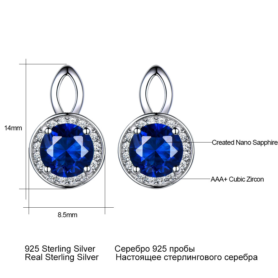 e4c088697 UMCHO Real 925 Sterling Silver Earrings Gemstone Round Rich Color Nano Blue  Sapphire Stud ...