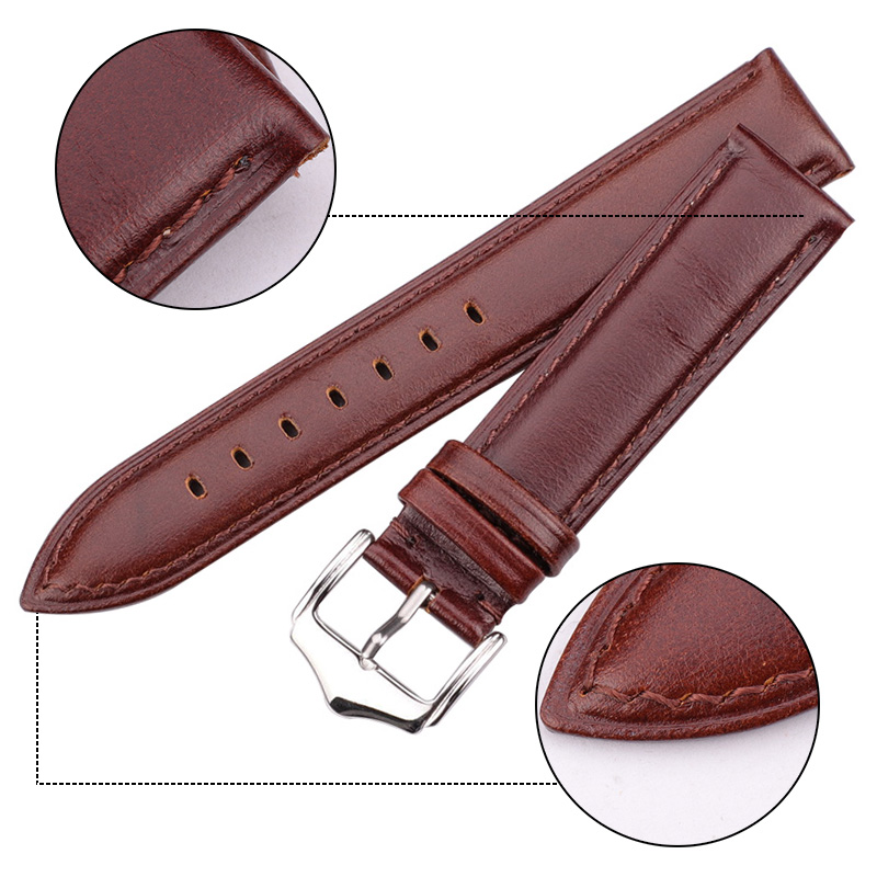 HENGRC Watchband With 316L Steel Pin Buckle Smooth Soft Genuine Leather Men Women Watch Strap Accessories 18 19 20 21 22 24mm in Watchbands from Watches