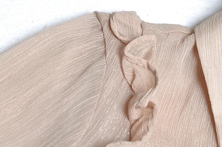 Mode Col Nu Chemises Définit down Volants Outfit Tenue Longues Dentelle Femmes Turn Pièces Jupes Manches Pièce Blouse Deux Beige 2 À vTvarwSq