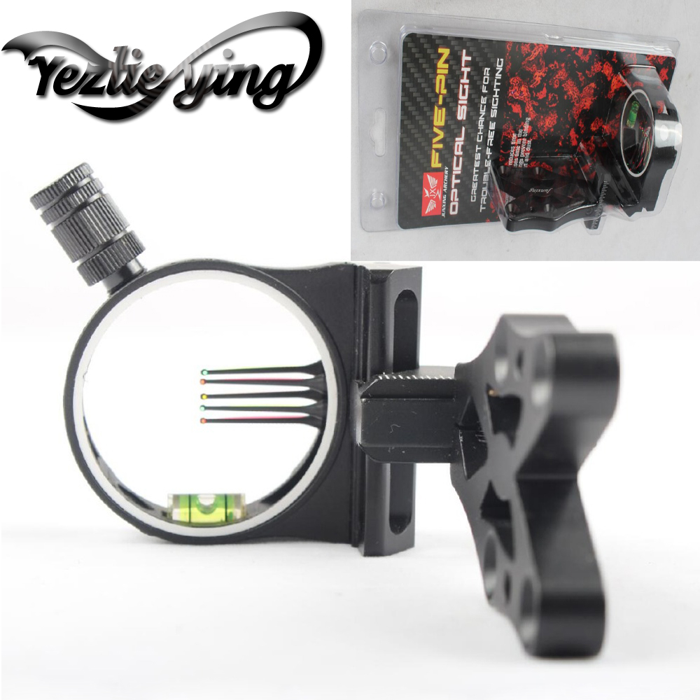 Crossbow Hunting Compound Bow 5 pin Bow Sight Led light Bow Sights For recurve bow Hunting Bow Sights Archery Accessories-in Bow & Arrow from Sports & Entertainment