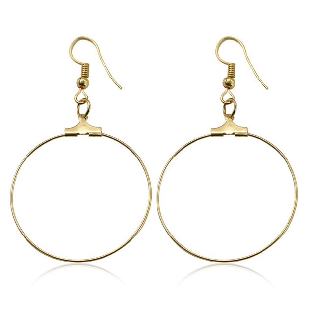 New Women Round Simple Earrings Gold Dangle Drop For Gift