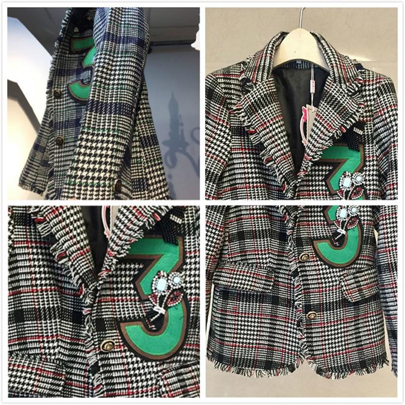 New Designer Vintage Houndstooth Tweed Women's Jacket Blazer Single Breasted Tassel Diamonds Blazers Coat Long Sleeve Outerwear