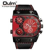 Oulm marka lüks erkekler rahat deri kayış kuvars-İzle erkek askeri kol erkek spor saat relojes hombre