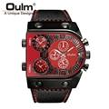 Oulm marca de lujo de los hombres reloj militar para hombre reloj de pulsera de cuarzo correa de cuero ocasional masculina deportes reloj relojes hombre