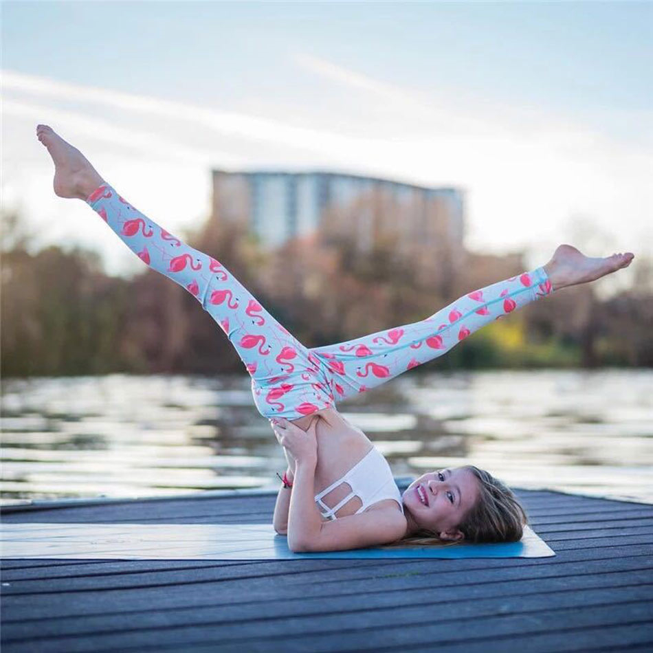 Sportlegging Kids.Whimsical Flamingo Printed Yoga Pants High Waist Elastic Girls Kids
