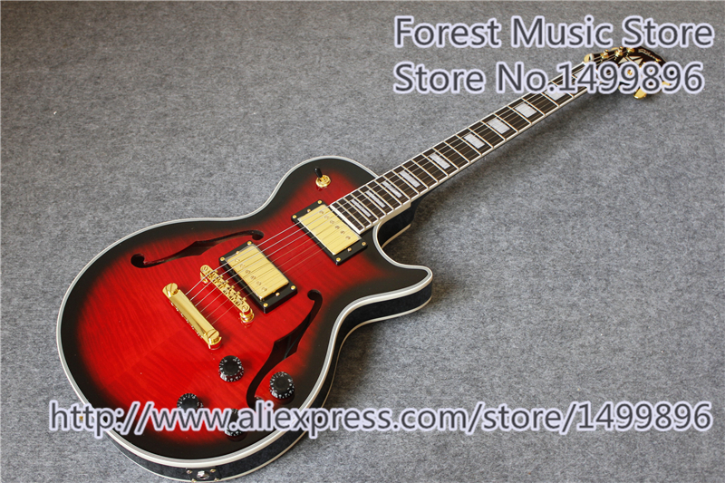New Arrival Tiger Maple Finish LP Custom Electric Guitar China OEM Maple Hollow Body For Sale new arrival electrics guitar 12 strings cherry sunburst semi hollow maple body for sale