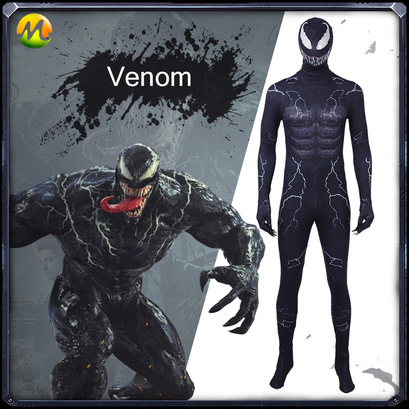 2018 Marvel film Venom Cosplay Costume super-héros Venom Cosplay noir combinaison Halloween Costumes pour hommes sur mesure