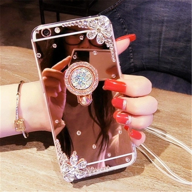 Luxury Rhinestone Case Cover For Samsung J6 J7 j5 J8 A6 A8 A7 A5 A3 Phone Case Glitter Mirror Girls with Ring Holder Stand Soft image