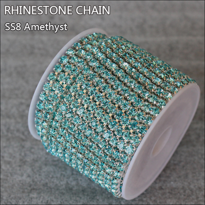 10yard/lot 2.5mm aquamarine rhinestones silver cup base chain strass chain for clothing ZlMzAq