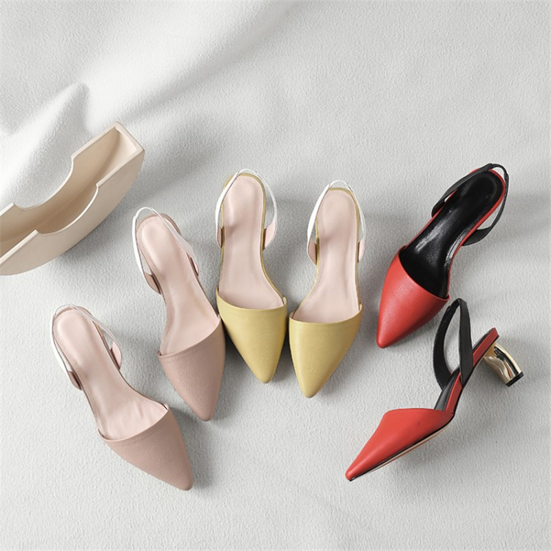 MSSTOR Pointed Toe Sandals 2019 Red Fashion Party Genuine Leather Summer Shoes Woman Sexy Mixed Colors High Heels Sandals Women