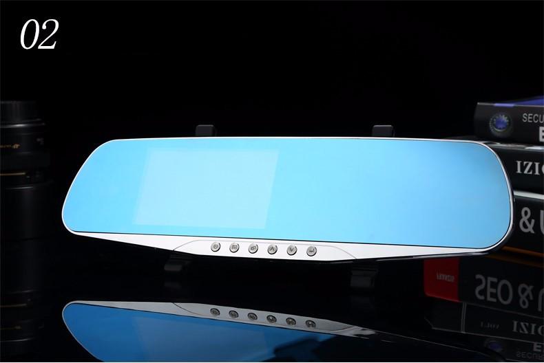 E-ACE Car Dvr Camera Led Lights Blue Rearview Mirror FHD 1080P Night Vision Video Recorder Dual Lens Auto Registrator Dash Cam 22