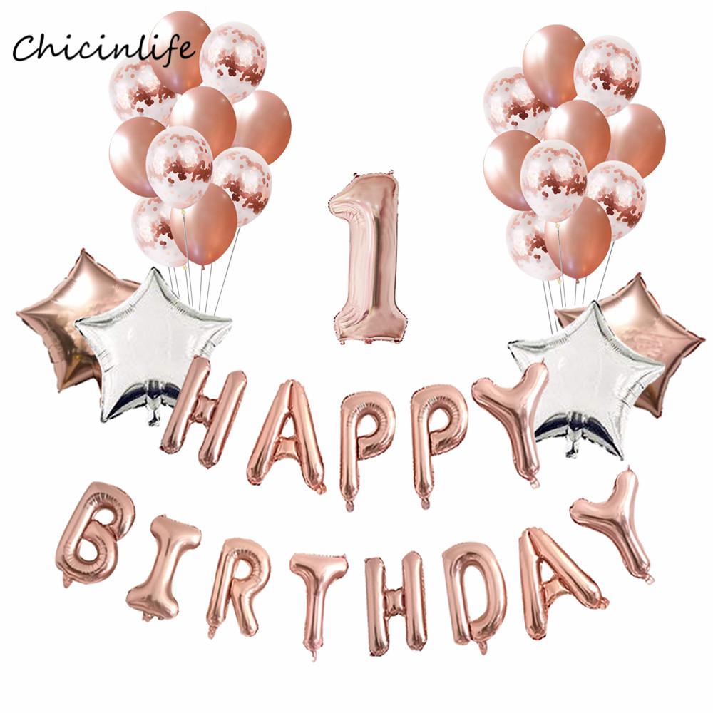 Chicinlife Rose Gold 1 2 3 4 5 6 Happy Birthday Balloons Confetti Balloon Kids Decoration Baby Shower In Ballons Accessories From Home Garden