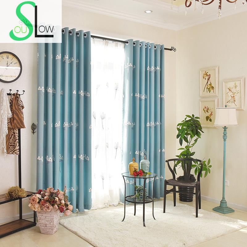 powolne dusza niebieskie zasony biay przdzy haftowane rczniki sypialnia dostosowa floral tulle cortinas dormitorio roman