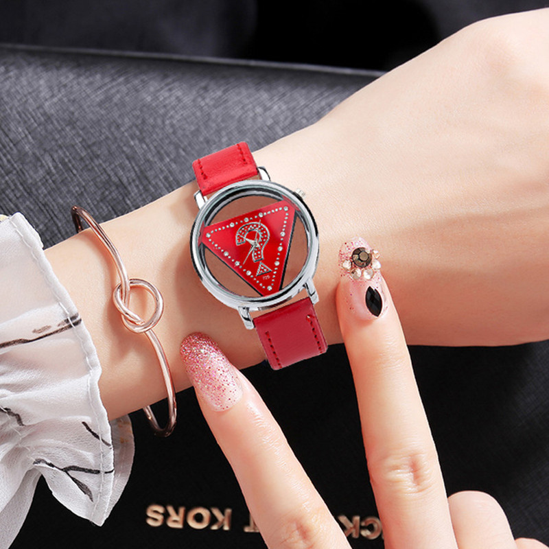 Women Hollow Dial Luxury Quartz-Watch BGG brand ladies Casual Wristwatch Leather Strap dress Watch female clock hour Relojes bgg brand creative two turntables dial women men watch stainless mesh boy girl casual quartz watch students watch relogio
