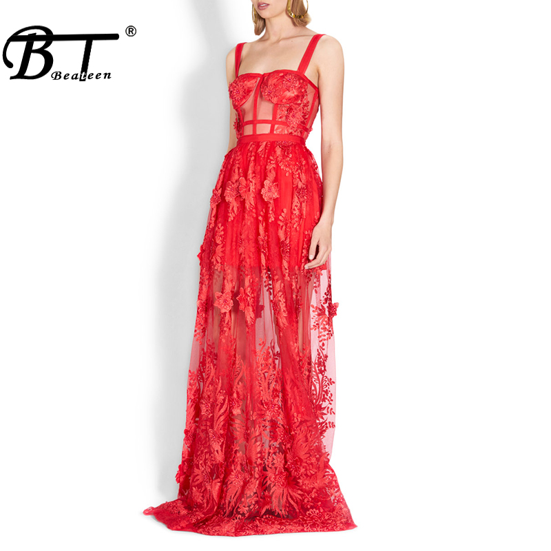 Beateen 2019 New Red Lace Embroidery Bandage Sweet Floral Mesh Gown Christmas Style Strap Fashion Sexy