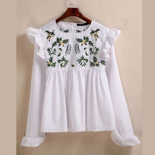 X700 primavera mujeres moda color blanco hojas verdes bordado dulce ...
