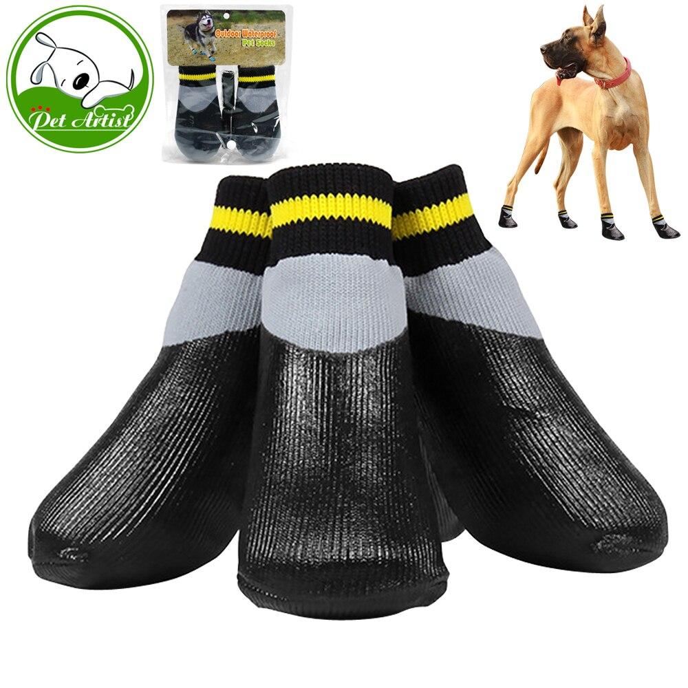 4 teile/satz Im Freien Wasserdichte Rutschfeste Anti-fleck Hund Katze Socken Booties Schuhe Wth Gummisohle Pet Pfote Protector Für kleine Großen Hund