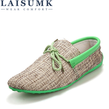 2018 LAISUMK Dropshipping Men Shoes Summer Breathable Fashion Weaving Casual Shoes Soft Lace-up Comfort Men's Loafers Driving