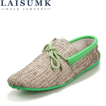 2020 LAISUMK Dropshipping Men Shoes Summer Breathable Fashion Weaving Casual Soft Lace-up Comfort Mens Loafers Driving