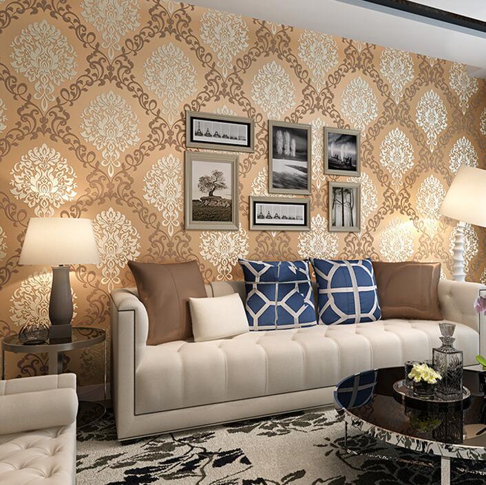 classic european embossed gold glitter damask wallpaper for walls