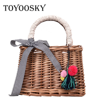 TOYOOSKY Square Bamboo Woven Handbag Women Straw Bag Bohemian Bow Ladies Shoulder Bag Designer Rattan Summer Beach Crossbody Bag