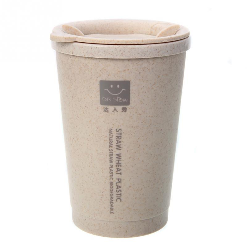 300ML Wheat Fiber Straw Coffee Cup Travel Mug Leakproof With Lid and Straw