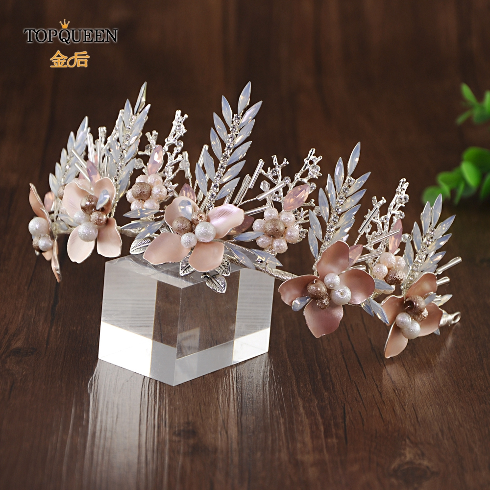 TOPQUEEN HP225-S Wedding Charming Crown For The Bride Milk Rhinestone Bridal Hair Tiara  Alloy Flower Wedding Hair Accessories